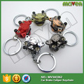 20pcs 6colors Zinc alloy motorcycle Car modification Disc brake Piston calipers keychain keyring key chain ring