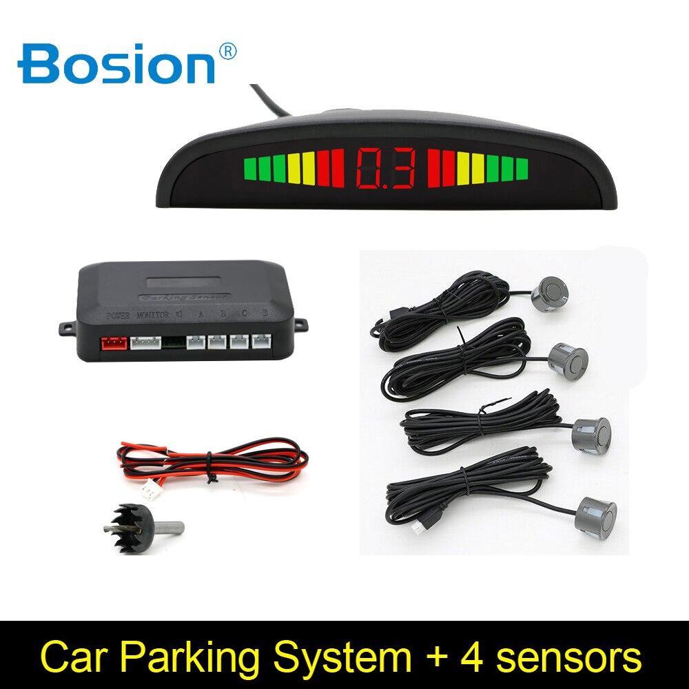 Bosion 1 satz Auto Parktronic Led Parkplatz Sensor Kit Display 4 Sensoren Für Alle Autos Umge Assistance Backup Radar-Monitor system