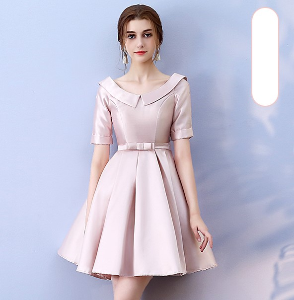 Red Bean Pink Colour Above Knee Mini Dress  Bridesmaid Dress  Wedding Guest Dress Empire Back Of Bandage