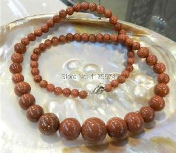 Jewelry & Accessories Necklaces & Pendants New Fashion New Fashion All-match Girl 6-14mm Galaxy Staras Gold-sand Sun Round Beads Necklace Hand Made 18 beads Jewelry Making Ys0311