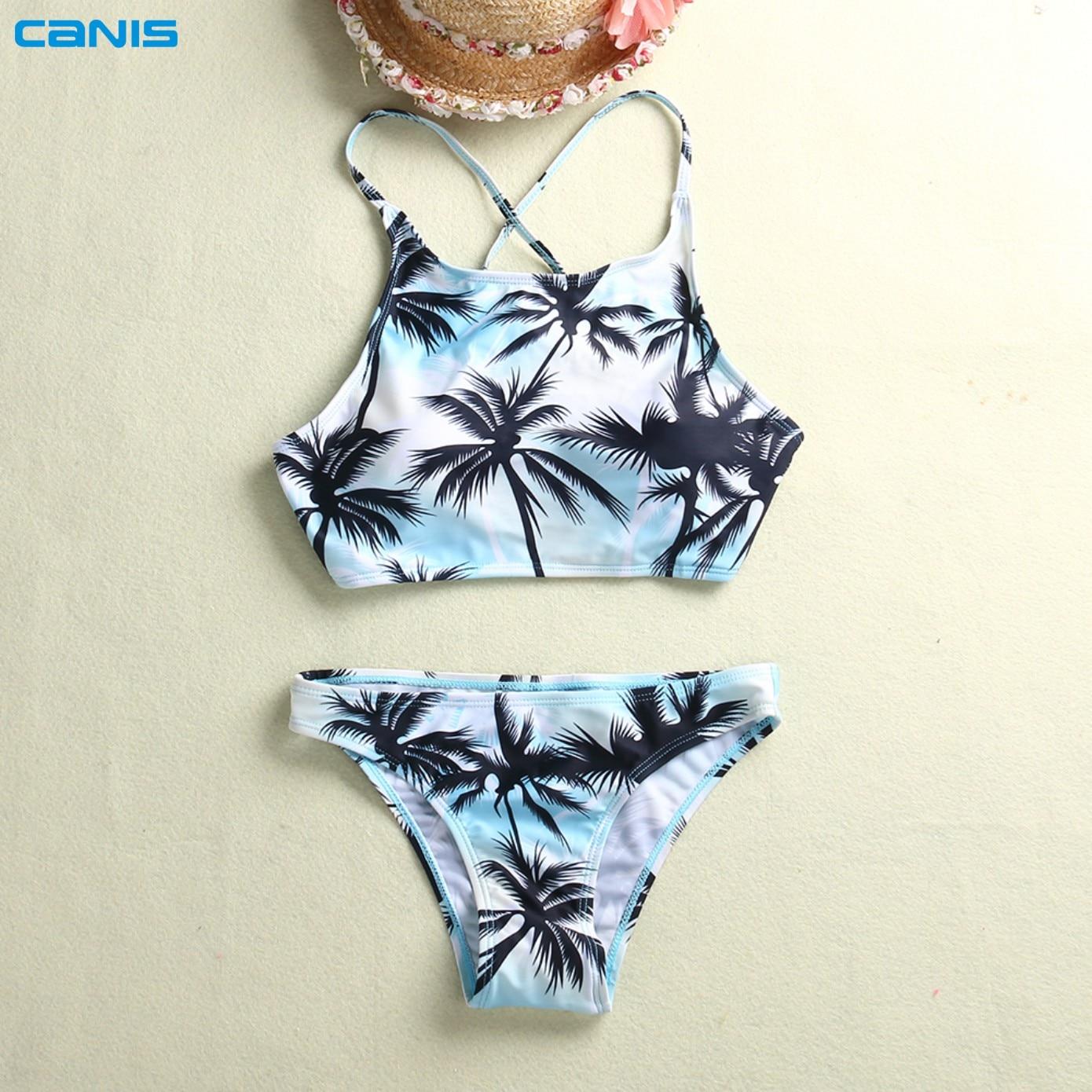 bb384434860 Print Floral Palm Tree Bikini Set Halter crop top hang High neck Bikinis set  push up Swimwear Women Swimsuit beach bathing suit