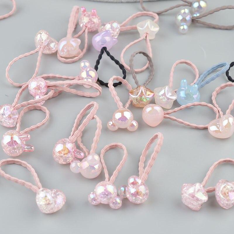 2-10 sztuka Cute Bunny Star księżniczka nakrycia głowy elastyczne gumki do włosów dziewczyny Sparking Mini stroik Tie Gum liny akcesoria do włosów A42