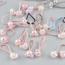 2 pieces Cute Bunny Star Princess Headwear Elastic Hair Bands Girls Sparking Mini Headdress Tie Gum Ropes Hair Accessories A42(China)