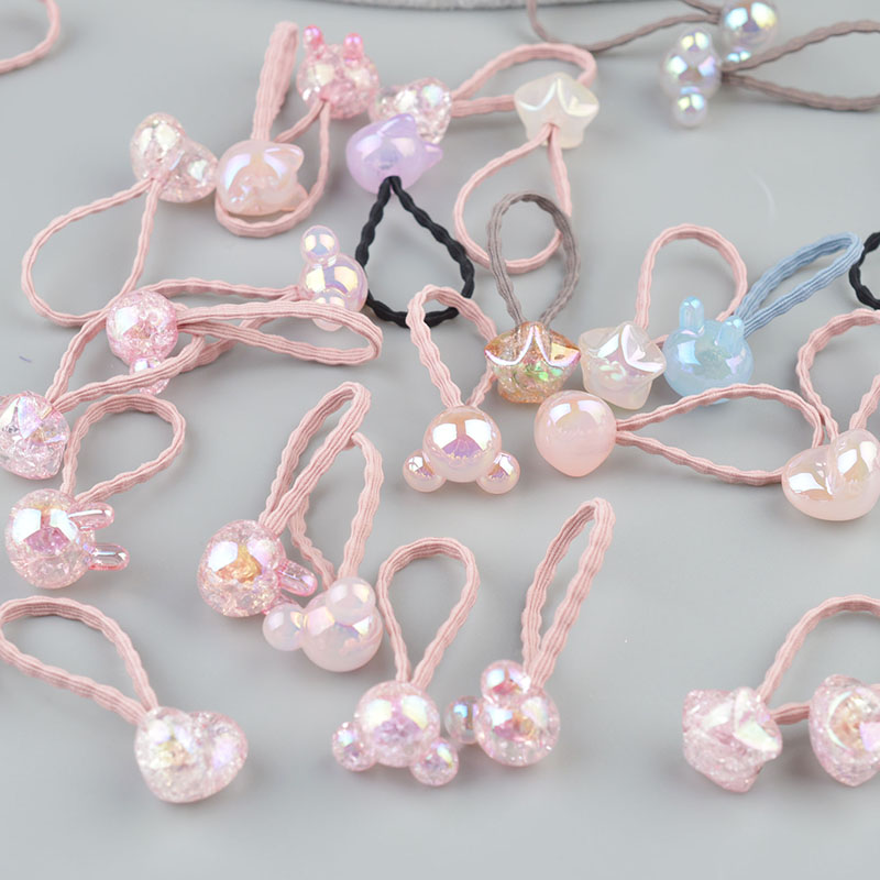 2 pieces Cute Bunny Star Princess Headwear Elastic Hair Bands Girls Sparking Mini Headdress Tie Gum Ropes Hair Accessories A42