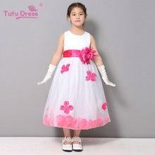 Flower Girl Dresses WHITE with Rose Petal Dress Wedding Easter Bridesmaid For Baby Children Toddler Teen Girls