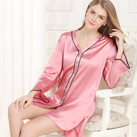2018 NEW Real Silk Nightgowns Female Sleepwear Summer Silk Sleepshirts Pure Color Simple Long Sleeve Sleeping
