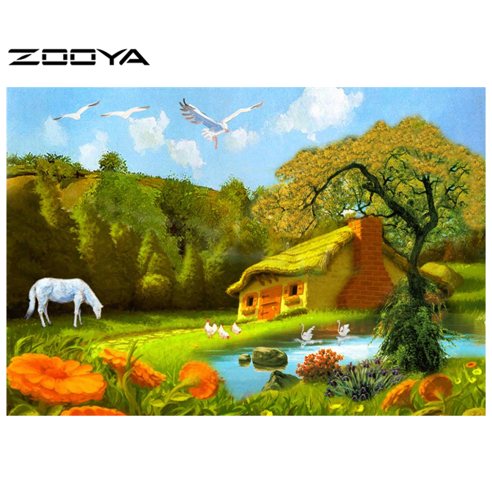 Limited Crafts Embroidery Novelty 3d Diy Diamond Painting Beautiful Mountian Hut Horse Lake Hand Cross Stitch Inlay Scroll AT105