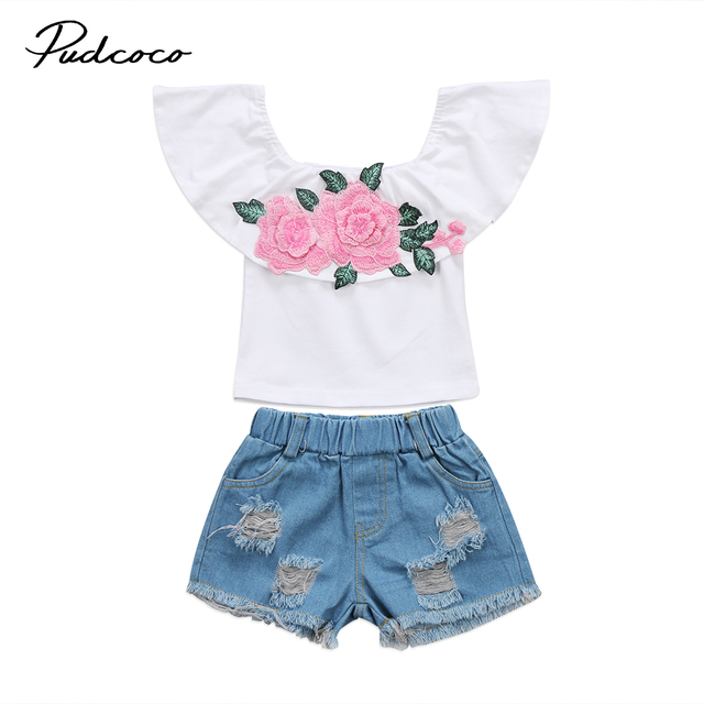 88c95638fc2 2Pcs Children Girl Summer Clothes Toddler Kids Baby Girls Floral Tops Off  Shoulder Tops Hole Denim Short Trousers Outfits Set