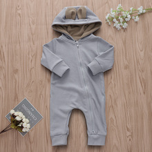 aa82a969272 Unisex Baby Clothes Zipper Romper Newborn Long Sleeve Girl Boy Clothes Cute  Grey Hooded Jumpsuit Dot