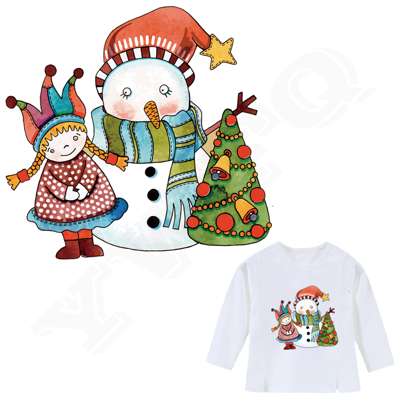 Colife Merry Christmas Patches Gift 20*19cm Iron On Patch For Clothes A-level Washable Stickers Boys Girls Heat Press Appliqued