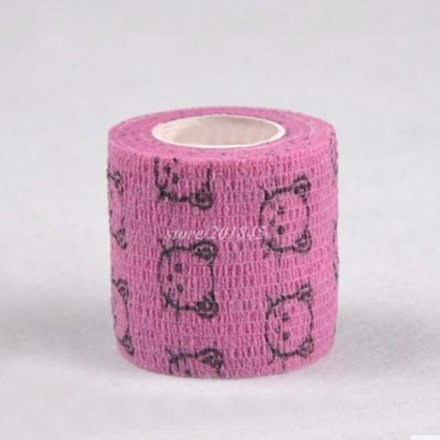 6 Pçs/lote 5 cm x 4.5 m Autoadesivo Não Tecido elástico Cohesive Bandagem Aderente Envoltório Vermelho do Teste Padrão do Gato de Primeiros Socorros