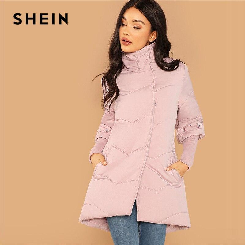 Шеин выходные повседневное розовый элегантный горный хрусталь подробно высокое средства ухода за кожей Шеи стеганая куртка на пуговицах ...