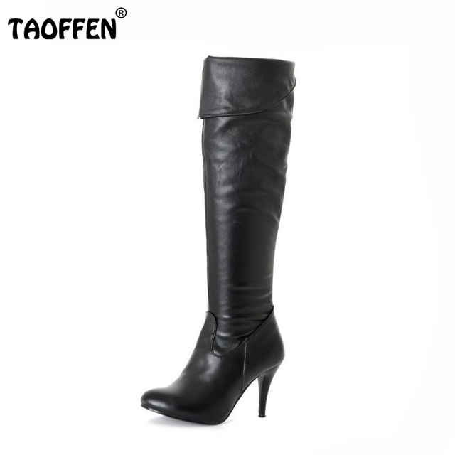 Size 34-47 Women High Heel Over Knee Boots Fashion Snow Long Boot Warm Winter Brand Botas Footwear Heels Shoes P1318-2