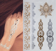 1sheet Indian Arabic Designs Golden Silver Flash Tribal Henna Tattoo Paste Metali Metal Tatoo Sticker Sheets On Body Hand