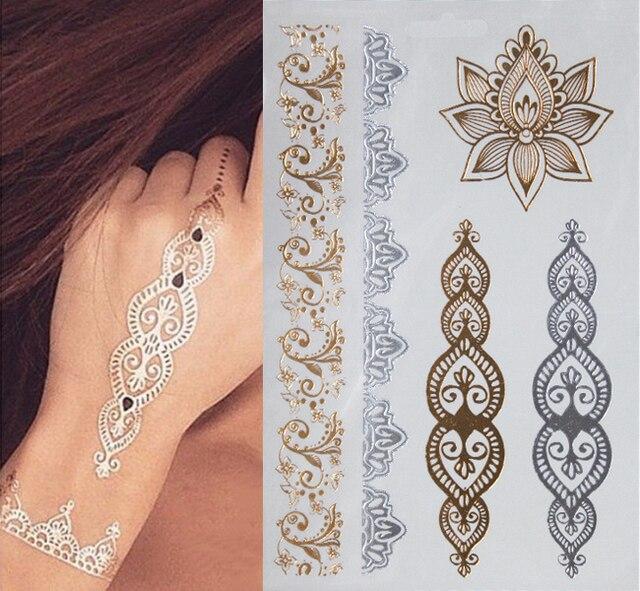 1sheet Indian Arabic Designs Golden Silver Flash Tribal Henna Tattoo Paste Metali Metal Tatoo Sticker Sheets On Body Hand