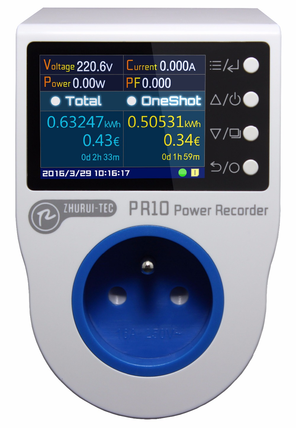 PR10 D FR16A French plug power meter energy meter measure record alarm timing 0 1 4000w