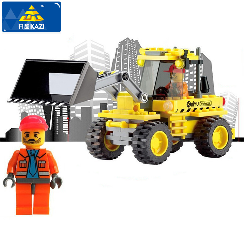 KAZI 117Pcs City Construction Bulldozer Figure Blocks Educational 3D Construction Building Blocks Playmobil Toys For Children