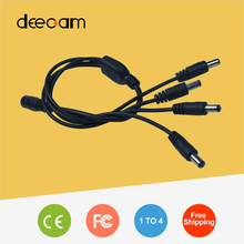 1PCS Surveillance DC Power Supply 12V Pigtail 2.1*5.5mm 1 Female to 4 Male Splitter Plug Cable for CCTV Camera Free Shipping