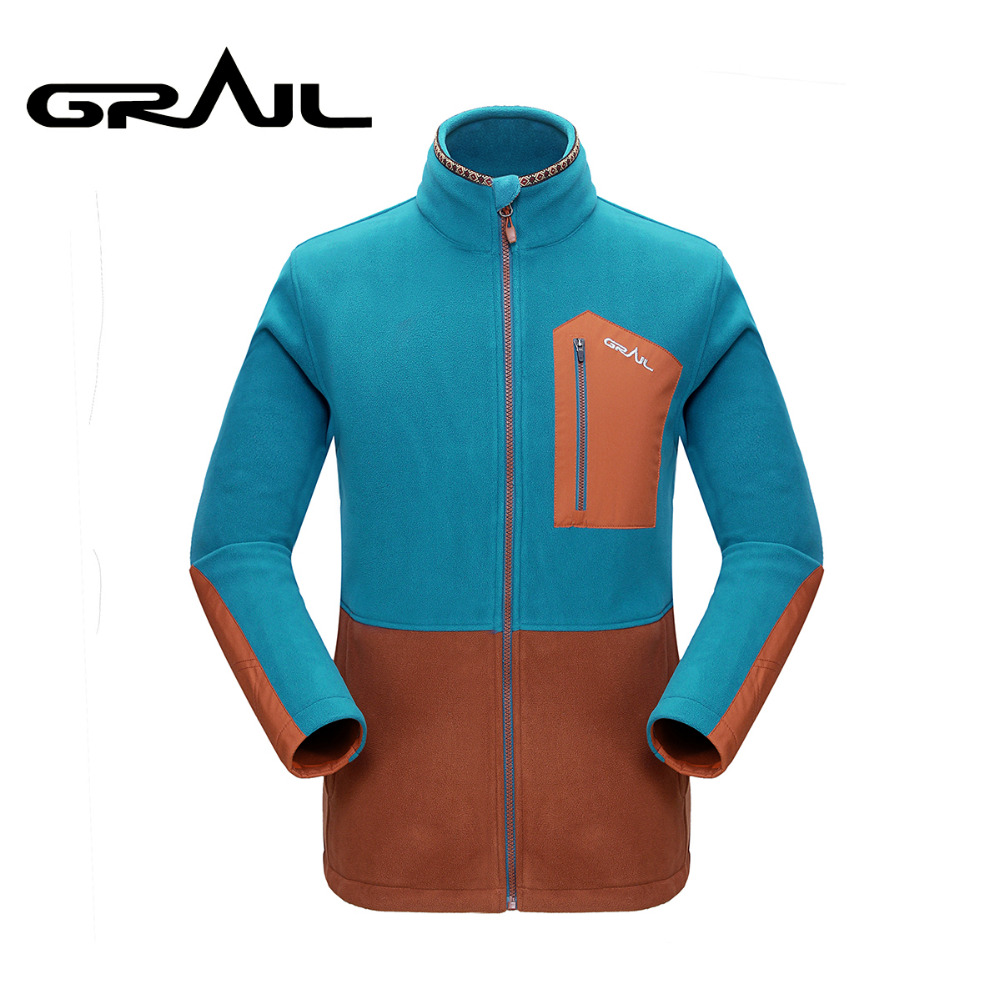 GRAIL Outdoor Polartec Fleece Basic Jacket Loose Zip Up Multi Pockets Warm Jacket Coat Stand Collar for Camping Hiking M5007A stand collar 3d stars and striped print zip up padded jacket
