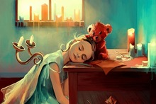art painting fantasy children girls sleepy afternoon candle desk toy doll Home Decoration Canvas Poster