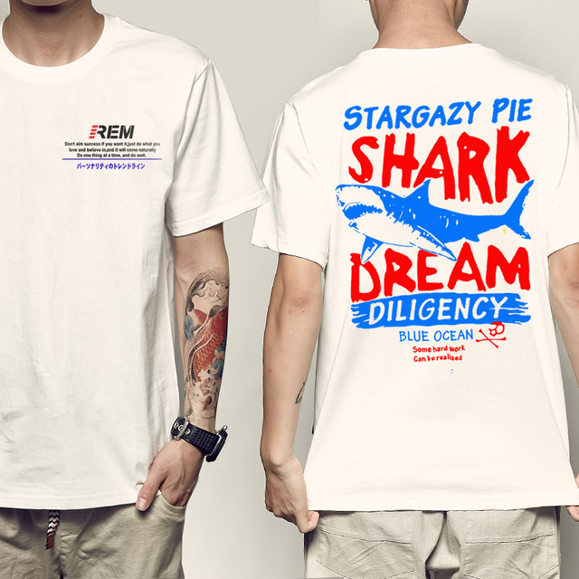 4c67e1a01f23 REM shark Fashion Retro Wood/ Record Printed Men letter T shirt Short Sleeve  Casual t-shirt Hipster Fractal Pattern tees Cool