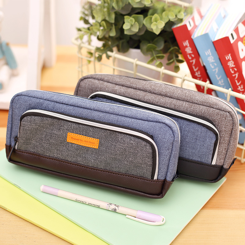 Korea Multifunction Simple School Pencil Case & Bags for Boys Large Capacity Durable Canvas Pen Case Gift Stationery Supplies big capacity high quality canvas shark double layers pen pencil holder makeup case bag for school student with combination coded lock