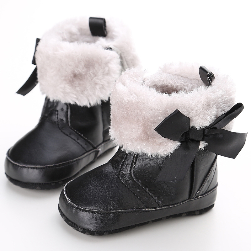 Female Baby Toddler Shoes Soft Bottom Non-slip Shoes Plus Velvet Warm Winter Snow Boots Baby Shoes 0-1 Years WMC902