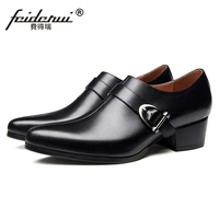 Italian Design Man Casual Shoes Genuine Leather High Heels Loafers Pointed Toe Belt Men's Handmade Wedding Party Flats SS472