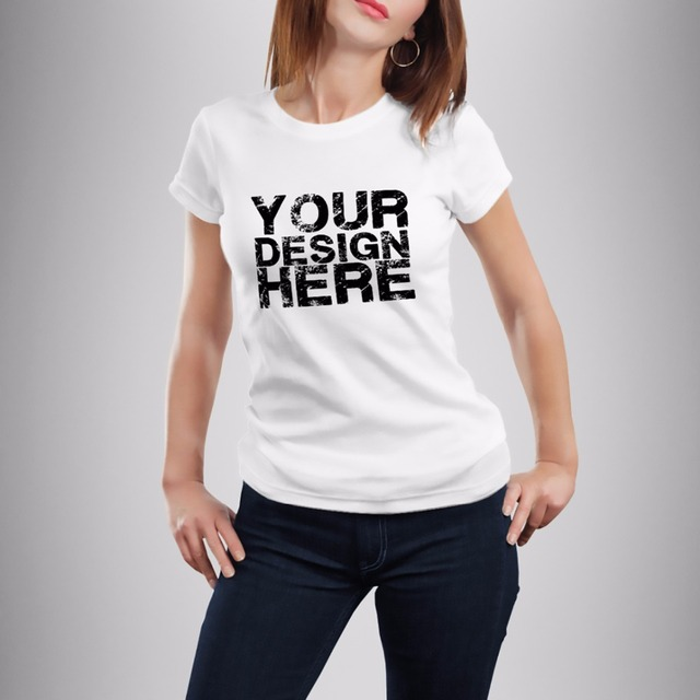 jollypeach High Quality DIY custom tshirt Women Casual t shirts Print Your  Own Design LOGO QR code photo Customized t shirt