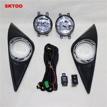 SKTOO Front fog lamp shade harness switch fog lights modified 2013-2016 for new Toyota Corolla possbay car fog light for toyota yaris hatchback ncp9 2006 2010 angel eyes white lights front lights lamp with wiring harness