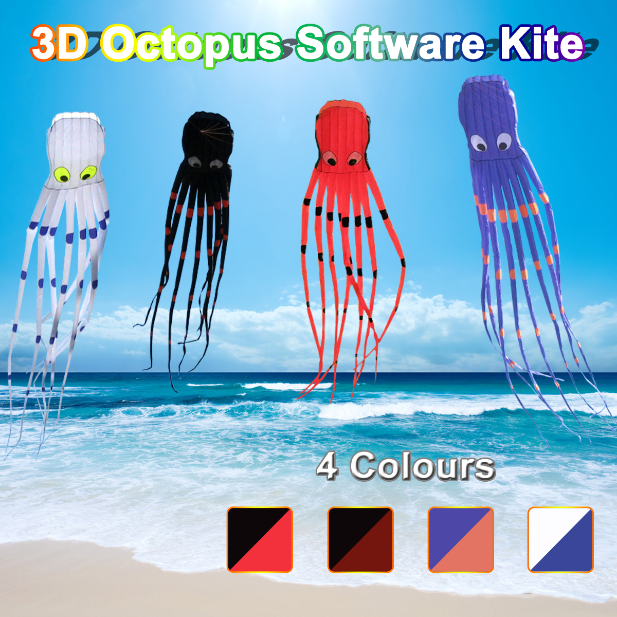 3D Octopus Nylon Kite Outdoor Sport 8M Flying Software Long Tail Kites Toys Huge Kite For Children Kids