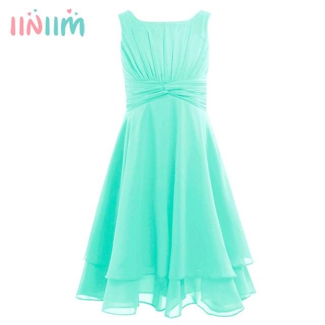 Iiniim פרח בנות שמלת שיפון מסוקס גבוהה מותן נסיכת שמלת ילדים נוער תחרות יום הולדת מסיבת Vestidos שמלות נשף