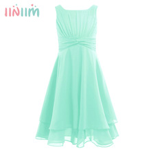 iiniim Flower Girls Dress Chiffon Knotted High waisted Princess Dress Kids Teenager Pageant Birthday Party Vestidos Prom Dresses
