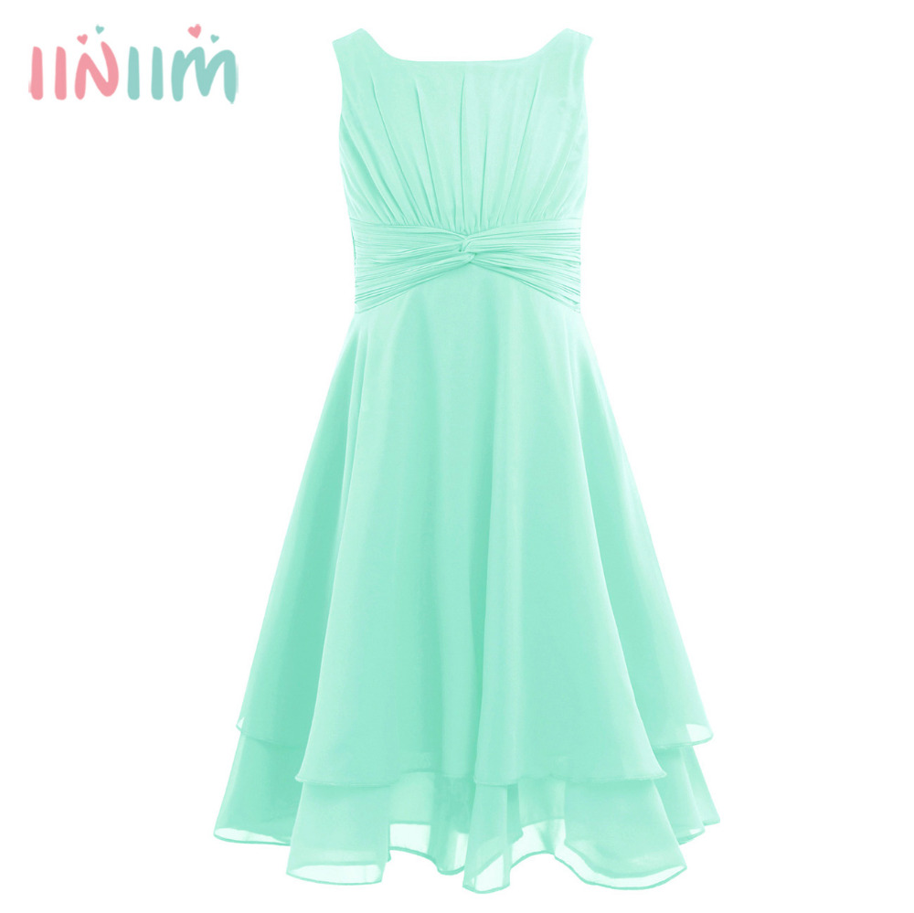 iiniim Girls Formal Dress Chiffon Knotted High-waisted Princess Dress Kids Teenager Pageant Birthday Party Summer Prom Dresses leaf print high waisted maxi dress