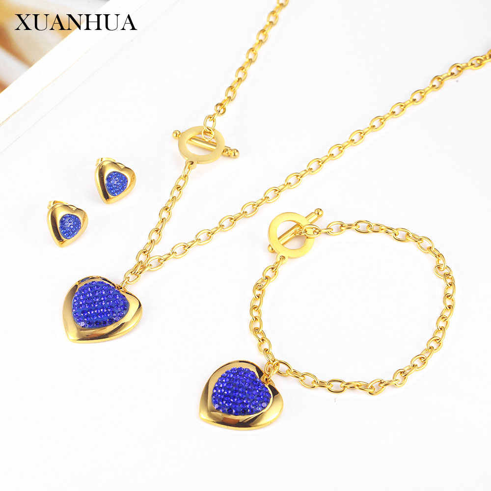 XUANHUA Heart Necklace Earrings Bracelet Set Stainless Steel Jewelry Woman Vogue 2019 Accessories Jewelry Sets Bohemian