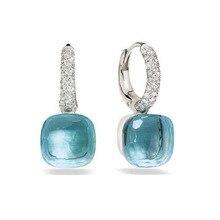 Mode Frauen Multicolor Faceted Kristall Süßigkeiten Quadrat Ohrringe Silber Farbe Rose Gold Farbe Zirkon Steine Wasser Tropfen Ohrringe