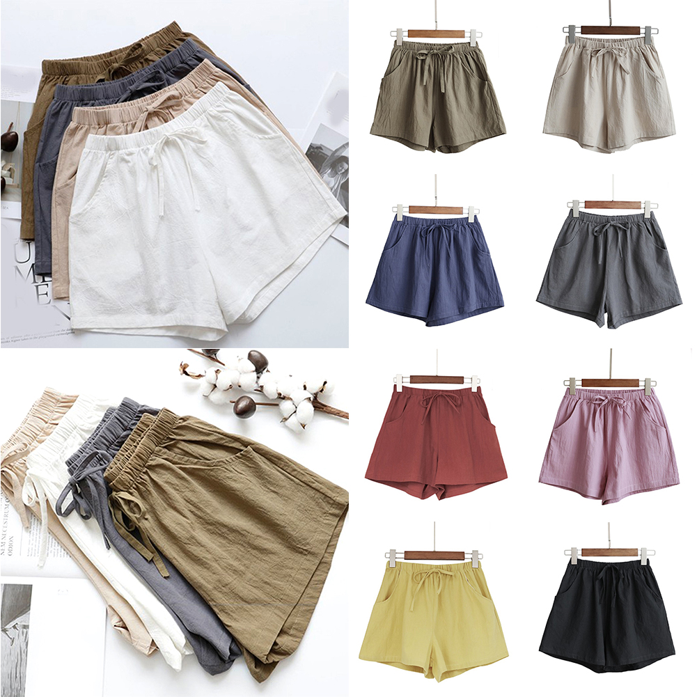 Women Female Casual Solid Color Cotton Linen Shorts Ladies Summer High Waist Loose Elastic Drawstring Club Holiday Short Pants
