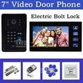 DIYSECUR Electric Bolt Lock 7 Inch Video Door Phone Intercom System + Remote Control Keypad RFID Reader Waterproof Cover Camera
