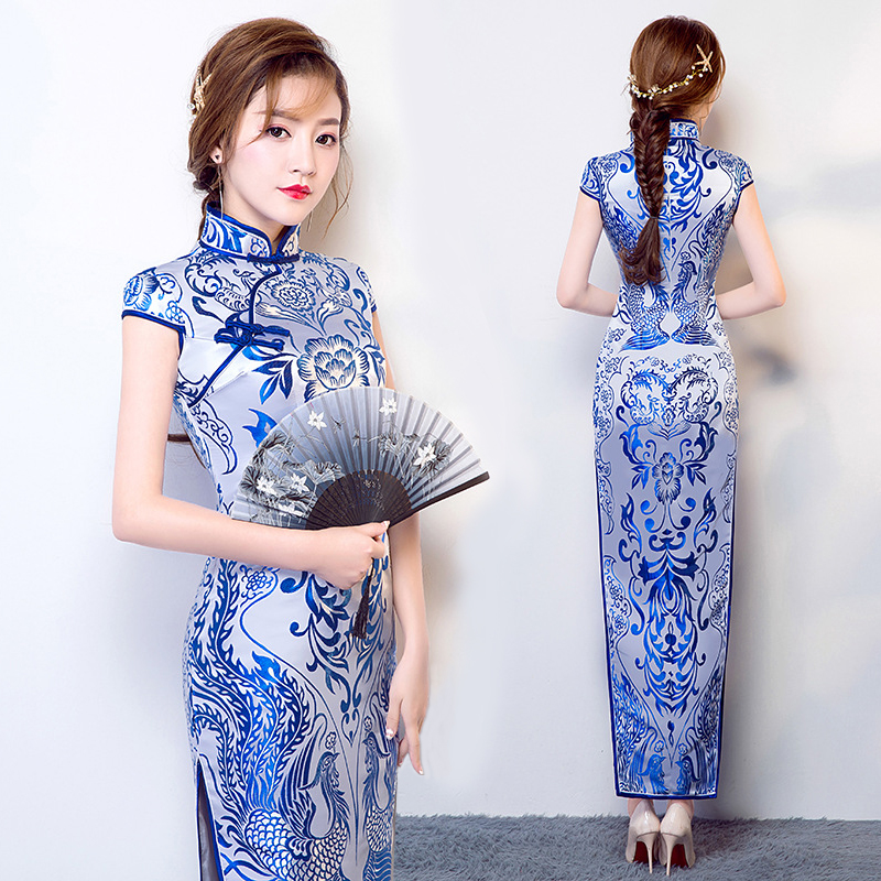 Wedding Party Cheongsam Oriental Evening Dress Chinese Traditional Womens Elegant Qipao Sexy Sleeveless Long Robe Retro Vestido