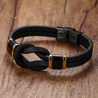 Mens Leather Bracelets Tribal Braided Knot Infinity Symbol Surfing Cuff Bangle Black Men Wristband Pulseira Fashion