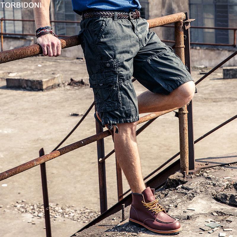 Mens Cargo Shorts High Quality Fashion Design Cotton Mens Casual Regular Shorts Multi Pocket Army Short Pants Bermuda Masculina