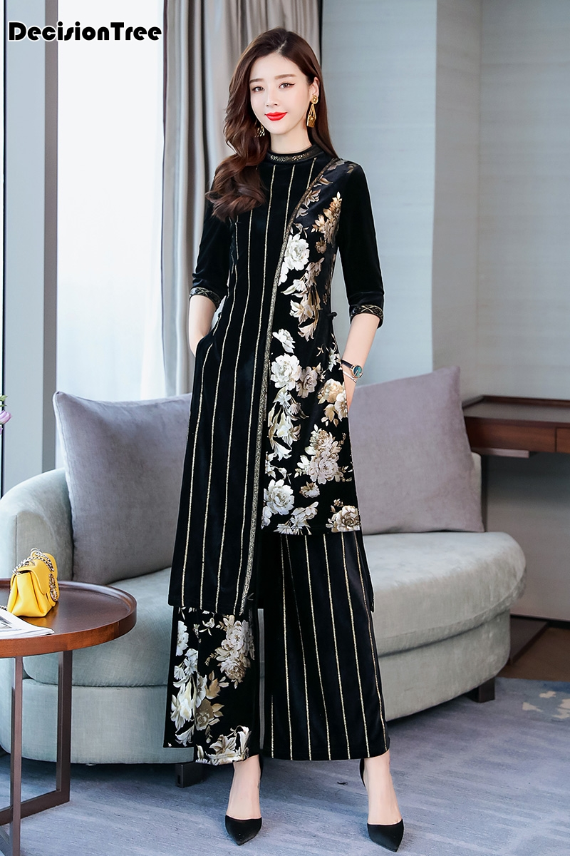 2019 High End Aodai Vietnam Cheongsam Style Dress Green Qipao For Woman Traditional Clothing Floral Ao Dai