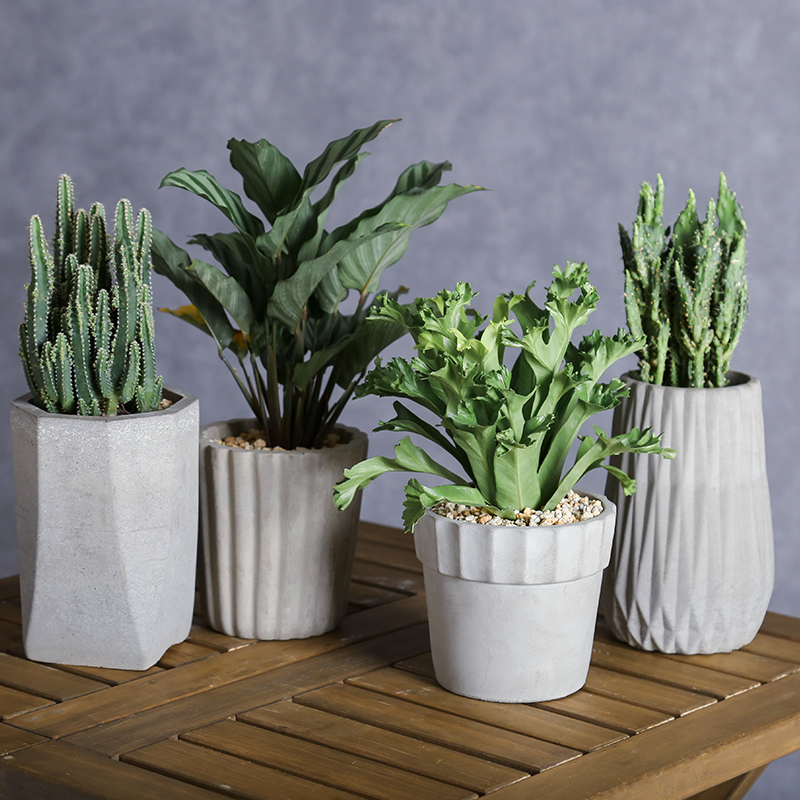 Creative flowerpot silicone moules de bureau balcon bureau géométrie simple carré pot de ciment d'argile moules