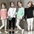 Otoño de Los Niños de la camiseta de los Bebés Tops Volantes de Encaje de Peter Pan cuello de Camisas Blancas para Las Niñas de Manga Larga Camisa de Los Niños Camiseta de La Muchacha