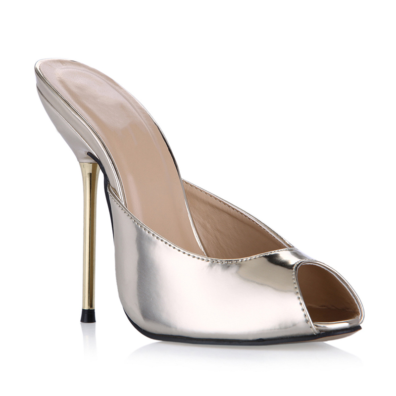 Sexy metal high heel Mules pumps Shoes Woman peep toe Slingbacks Pumps Mirror leather gold high Heels Ladies Shoes 35-43
