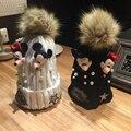 Chapéus das mulheres Para As Mulheres Mini Mouse Applique Estrela de Cinco pontas-Pérola Bola de Fios de Malha Cap Chapéu Gorro de Inverno Feminino Gorro de Banda Desenhada