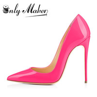 Onlymaker Women Shoes Thin High Heel Stilettos Pointed Toe Patent Leather Shoes 4.7 inch Plus Big Size 15 Wedding Pumps Brand