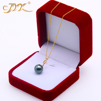 JYX 18 К золото 11,5 мм черный Таити Кулон ожерелье с бриллиантами 18 Избранное Южное море культивированный жемчуг ювелирные изделия AAA золото 18