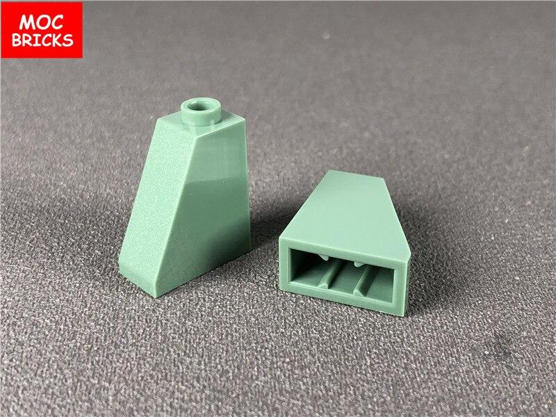 10 шт./лот, кирпичи MOC DIY, песочные зеленые блоки для наклона 1x2X2, подходят для 60481 образовательных строительных блоков, фигурки, детский подаро...