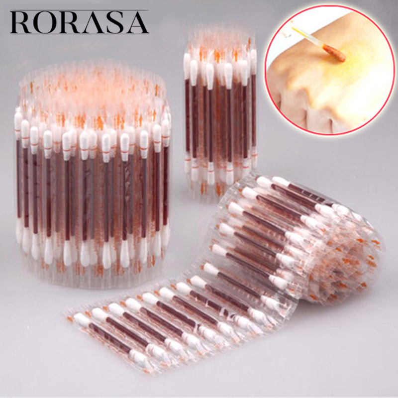 Disposable Medical Iodine Cotton Stick Iodine Disinfected Cotton Swab Cleaning Care Wound Cotton Swabs Aid First Aid Kit Supplie